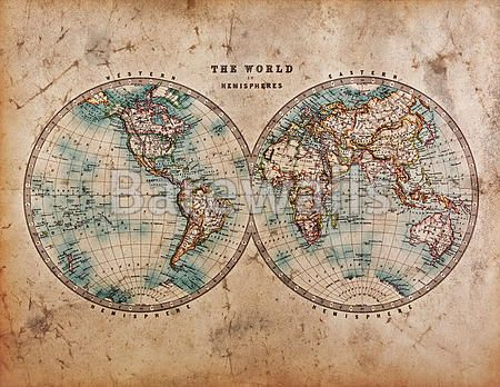 Old World Map In Hemispheres World Map Tapestry World Map Photo Map Canvas Print