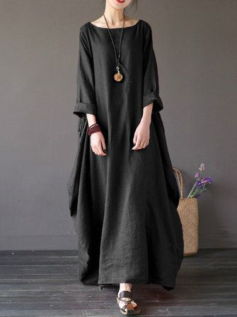00655e6ef7d ZANZEA Women Casual Loose Pure Color Long Maxi Dresses at Banggood ...