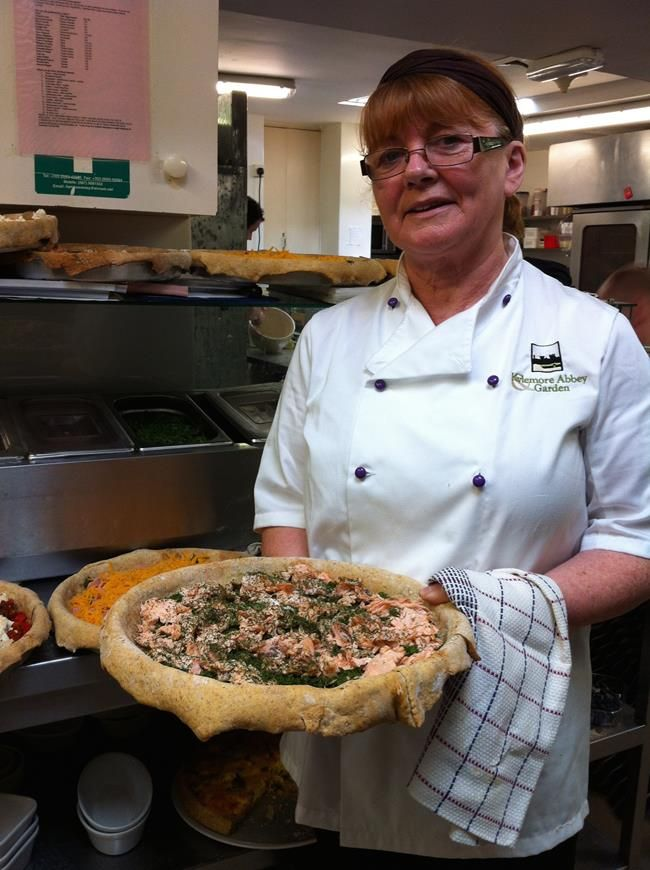 Dolores preparing a yummy quiche!