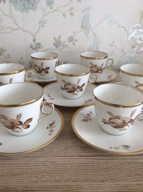 "Royal Copenhagen /"" Brown Rose /"" Coffee Mug and Saucer"