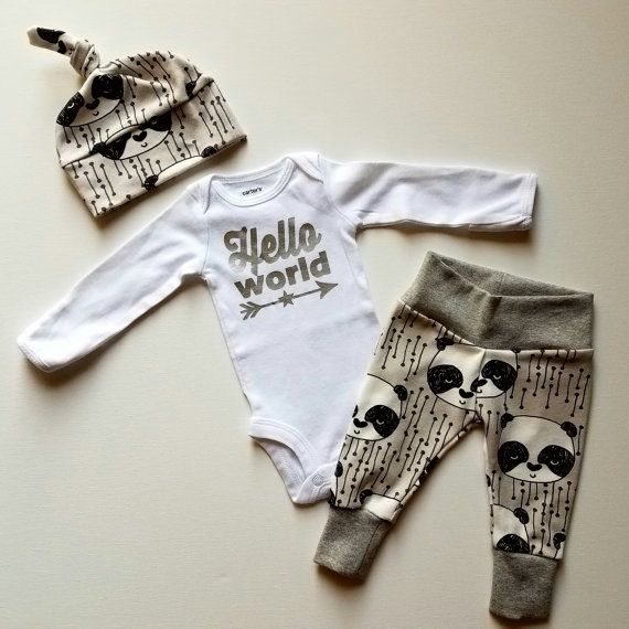 Baby Boy Newborn Take Home Outfit. Hello World. Stars and