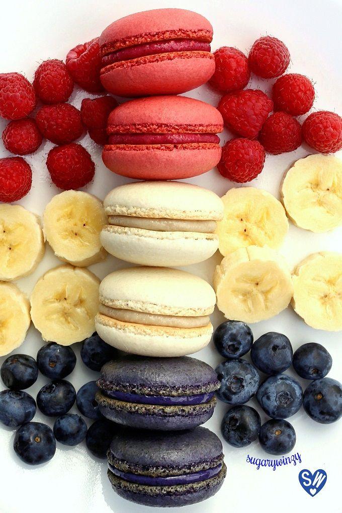 SugaryWinzy Raspberry Banana Blueberry Macarons