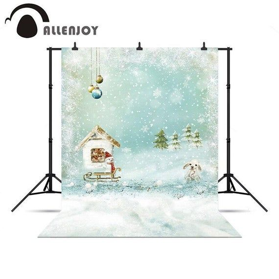 Photo of Custom Personalized background for photo shoots Winter Snowman Snowmobile sled toys Tree Forest Whit
