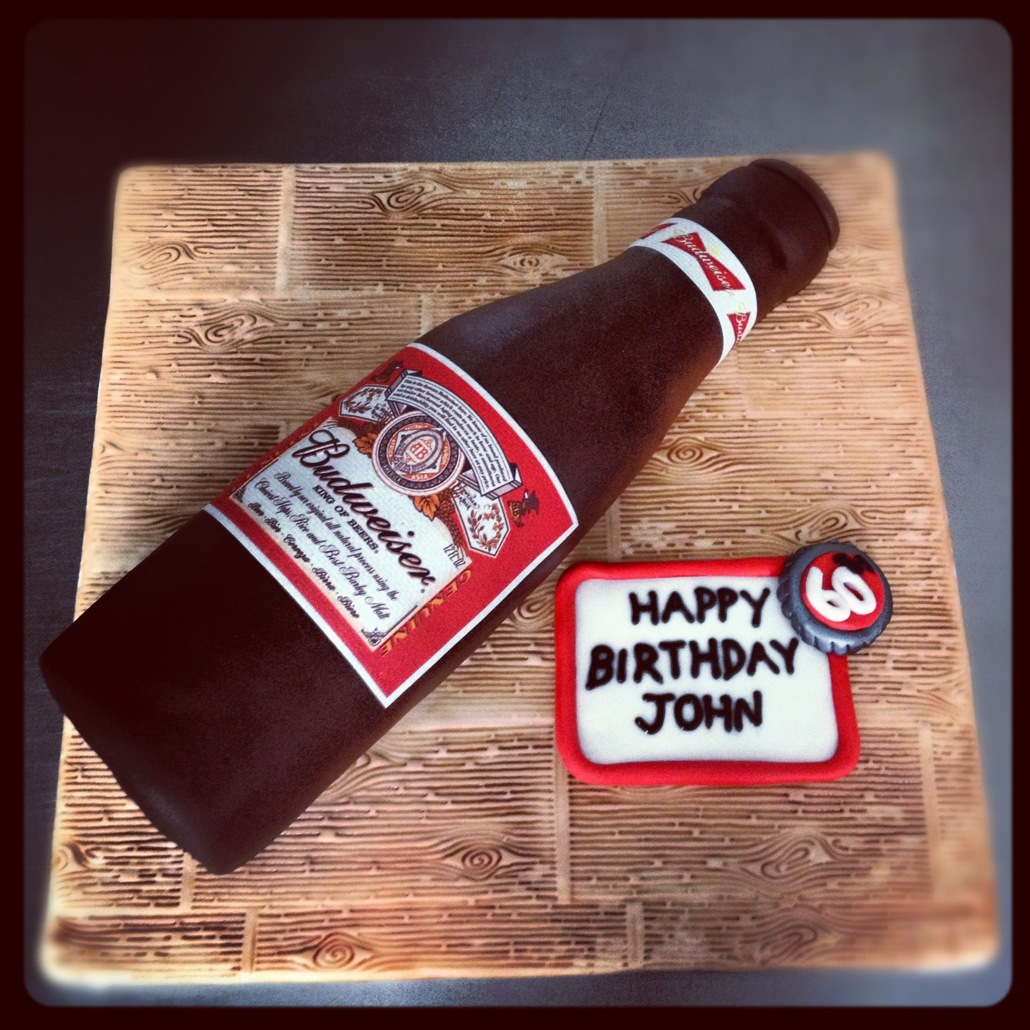 Remarkable Budweiser Beer Bottle Birthday Cake Beer Bottle Cake Birthday Personalised Birthday Cards Epsylily Jamesorg