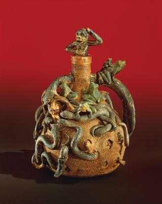 Anna Pottery Snake Frog Monkey Jug Salt Glazed Painted Stoneware Illinois Circa 19th Century