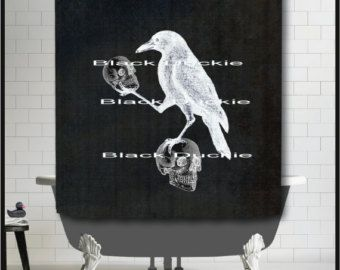 Incroyable Crow Holding Skulls On Chalkboard Shower Curtain   Nevermore Art Surreal  Odd Skull Crow Raven Shower Curtain