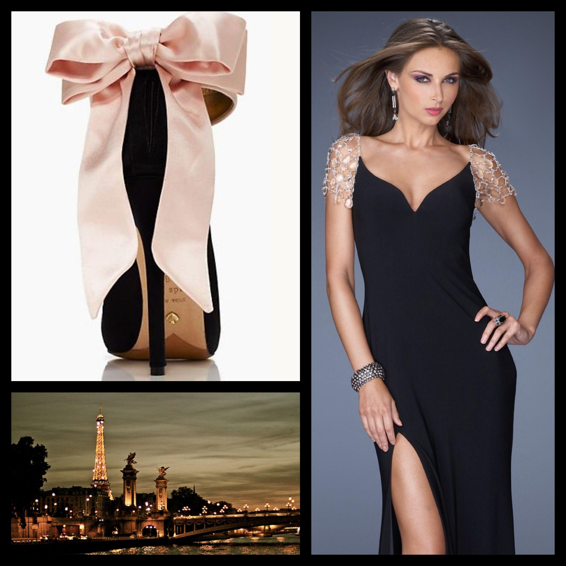 Black dress heels - La Femme Style 20025 Black Long Black Dress Beaded Black Dress Pink Bow