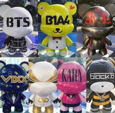 Cute Figurines Emblazoned With K Pop Idols Names Decorate The Streets Of Seoul Bear Statue Art Toy Seoul