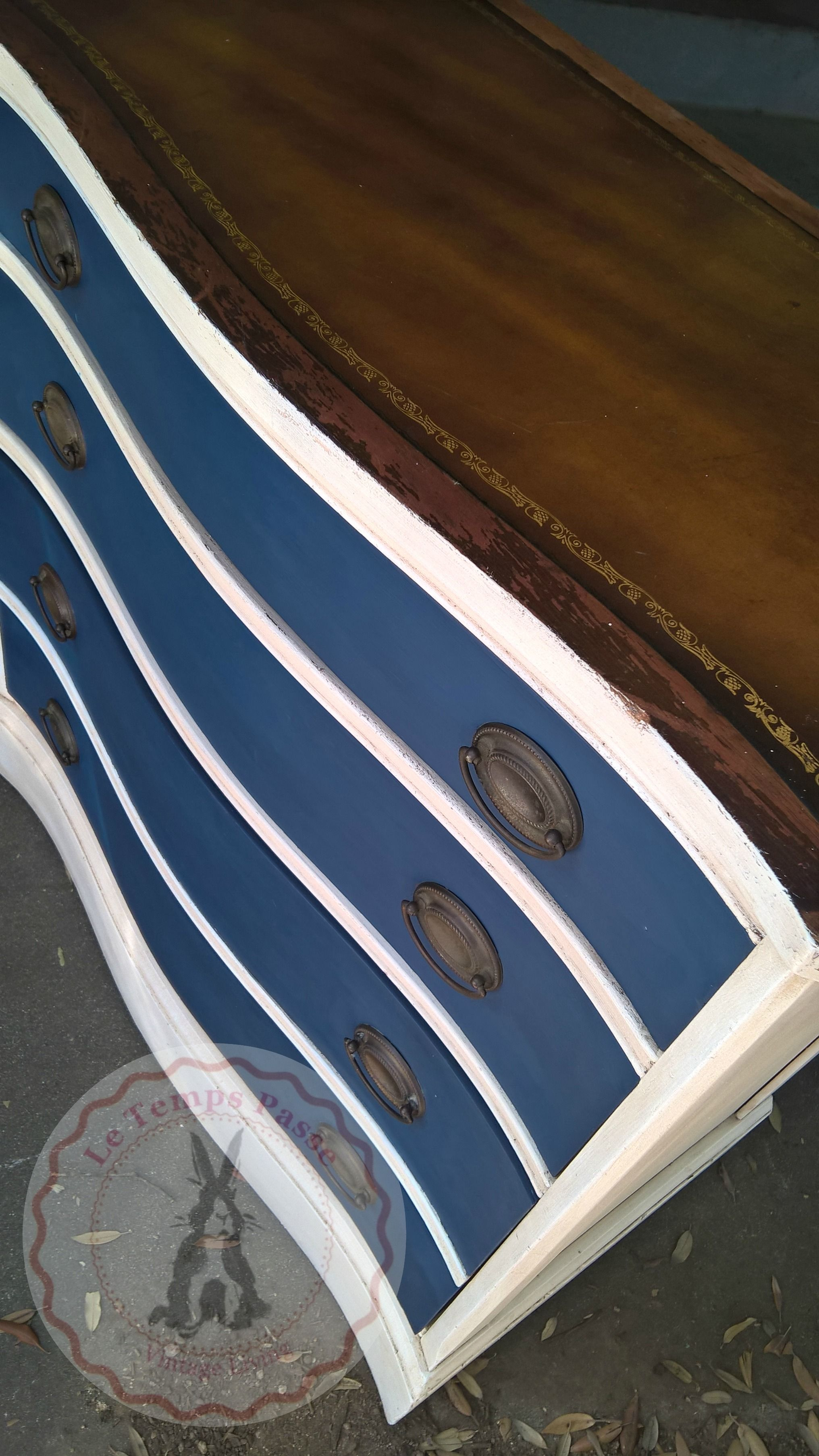 Vintage Brown Dresser Painted White With Navy Blue On Drawers Top Original Leather White Dresser Diy Brown Dresser Navy Blue Dresser