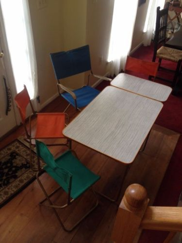 Vtg-1950s-Lafuma-Chantazur-France-Folding-Metal-Camping-Table-and-Chairs