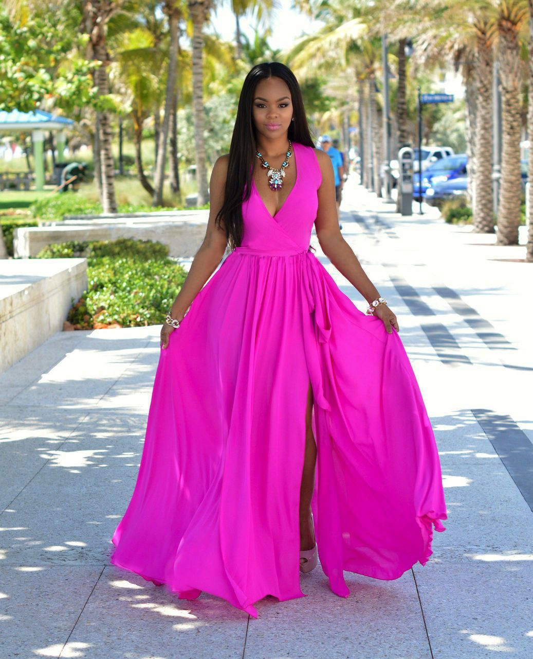 Chiffon slim slit vneck sleeveless long dress perfect figure