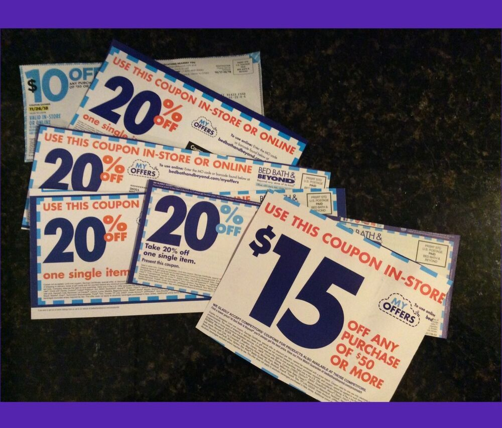 Bed Bath & Beyond Coupons ASSORTED DENOMINATIONS TOTAL