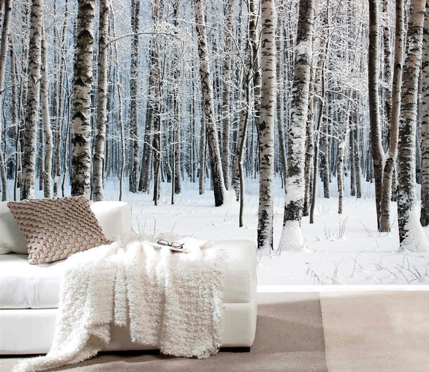 Birch tree in snow mural repositionable peel & stick by