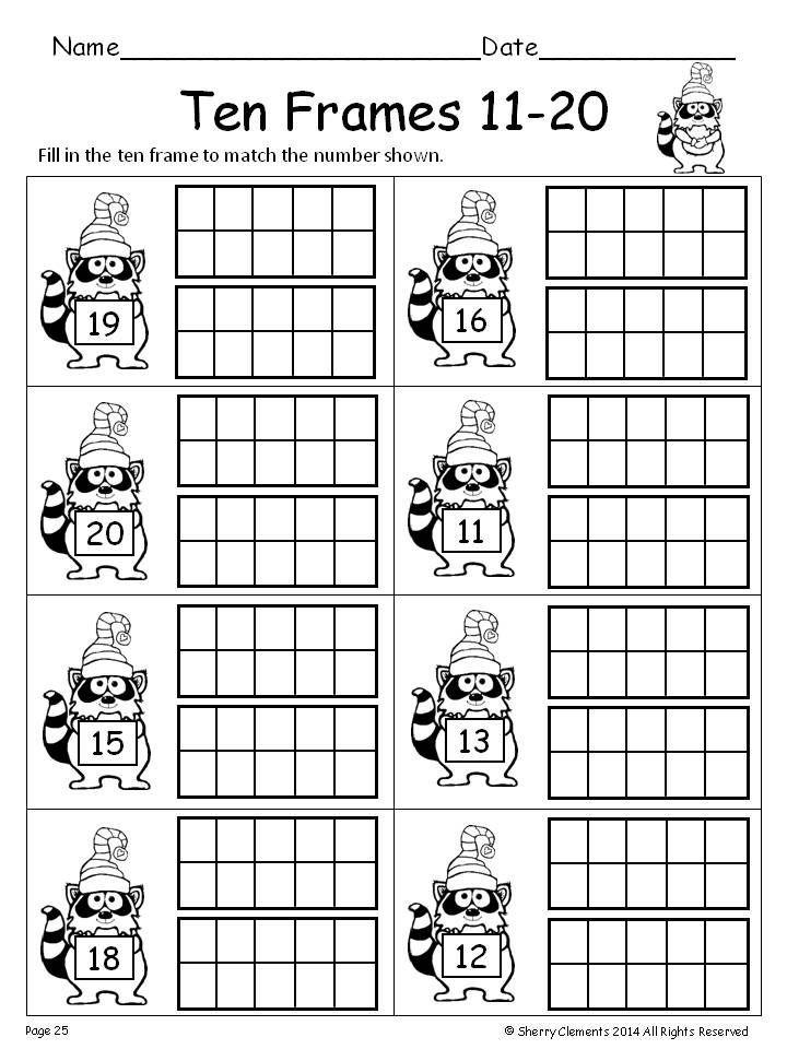 Ten Frames Math Numbers Kindergarten Ten Frames