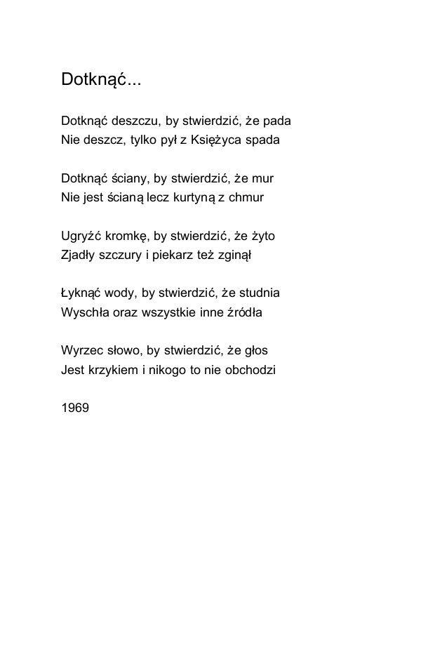 Dotknąć Rafał Wojaczek Cytaty życiowe Wiersze I