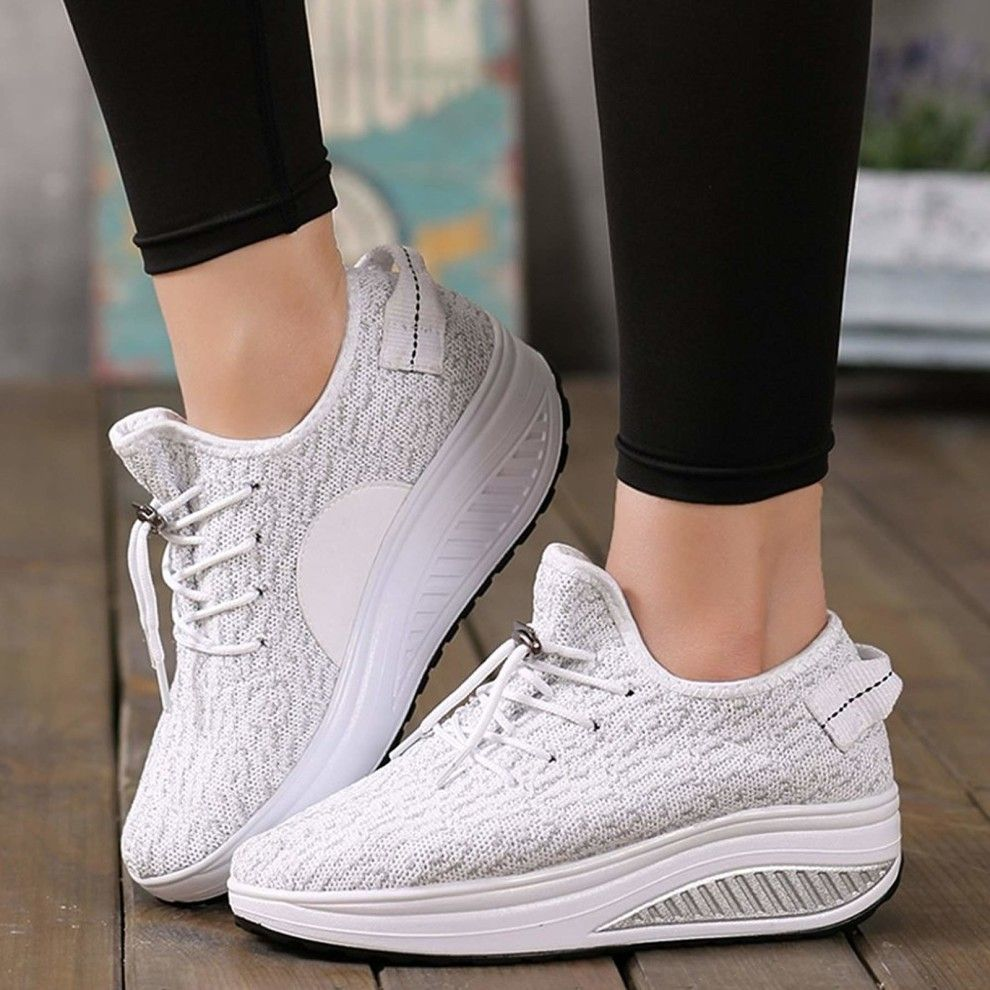 Women Platform Shoes Lace UP Shape Up Toning Fitness Walking Sport Sneakers Size