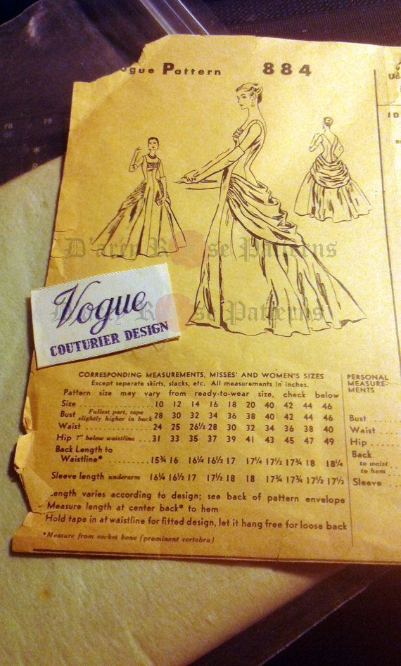 Vogue 884 Evening Dress Sewing Pattern Vintage 1950s Ball Gown ...
