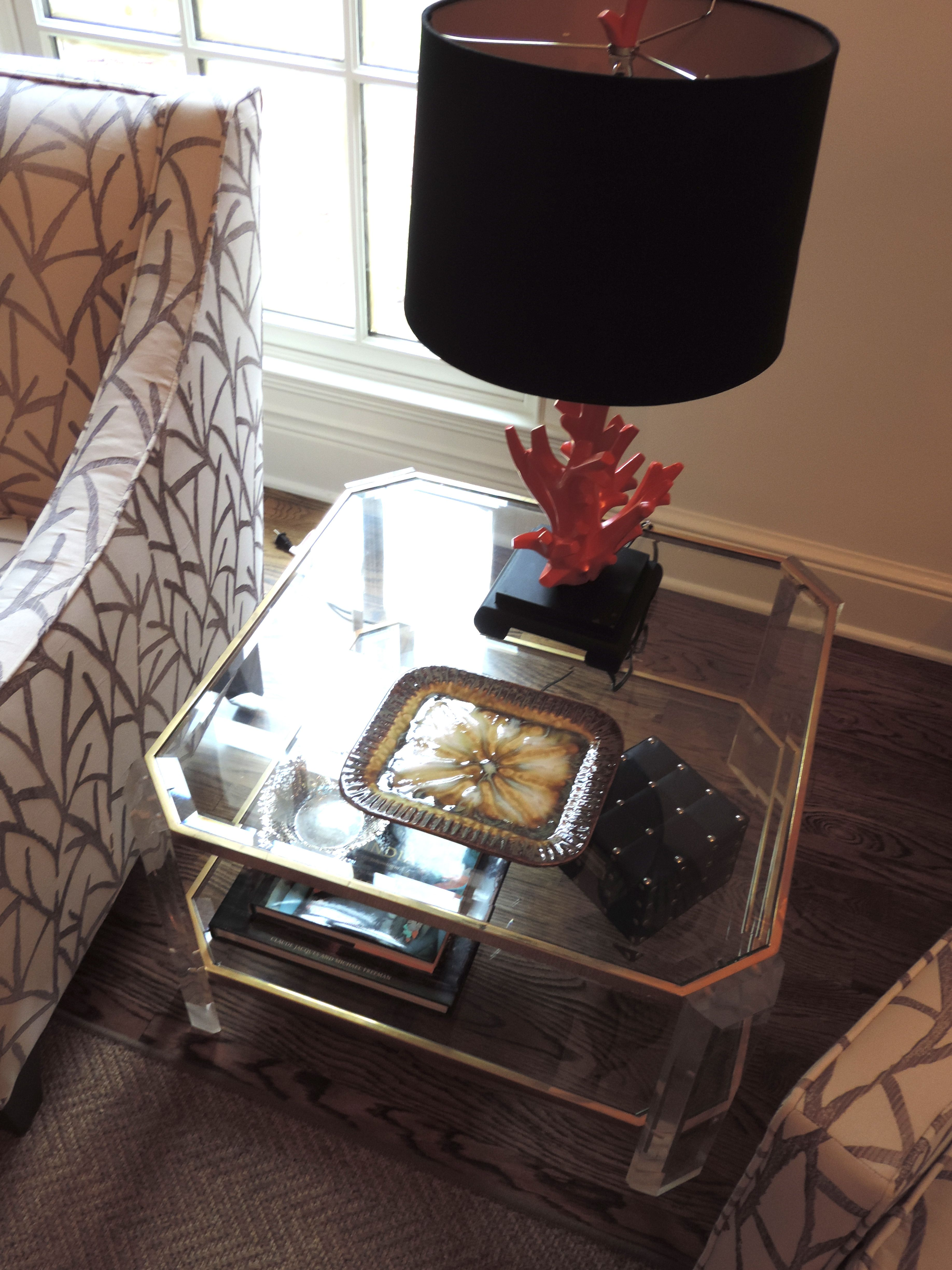 Great This Coral Lamp From HomeGoods Adds A Pop Of Color To This Vintage Lucite  Table. I Love Mixing The Old With The New!