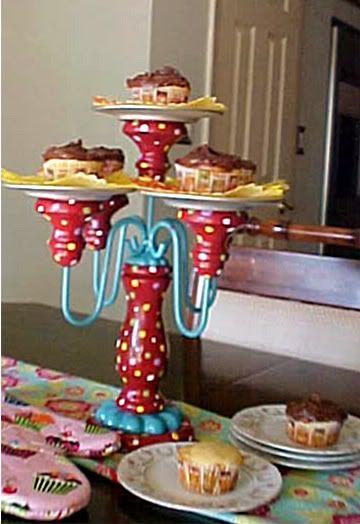 Red Repurposed Cake or Cupcake Plate