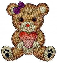 Loving you,valentine Bear free baby free sewing machine embroidery downloads