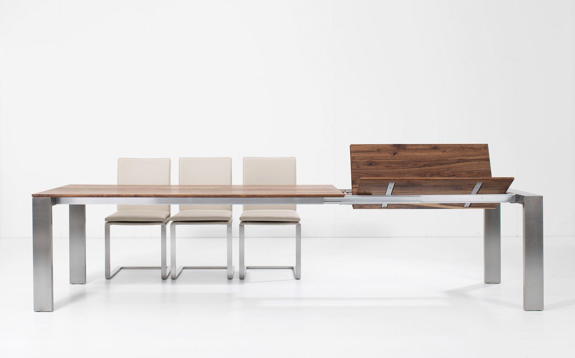 esstisch platte massivholz edelstahlgestell ausziehbar bei m bel morschett essen. Black Bedroom Furniture Sets. Home Design Ideas
