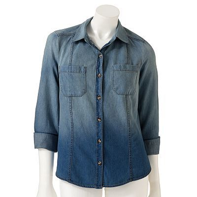 LC Lauren Conrad Faded Chambray Shirt