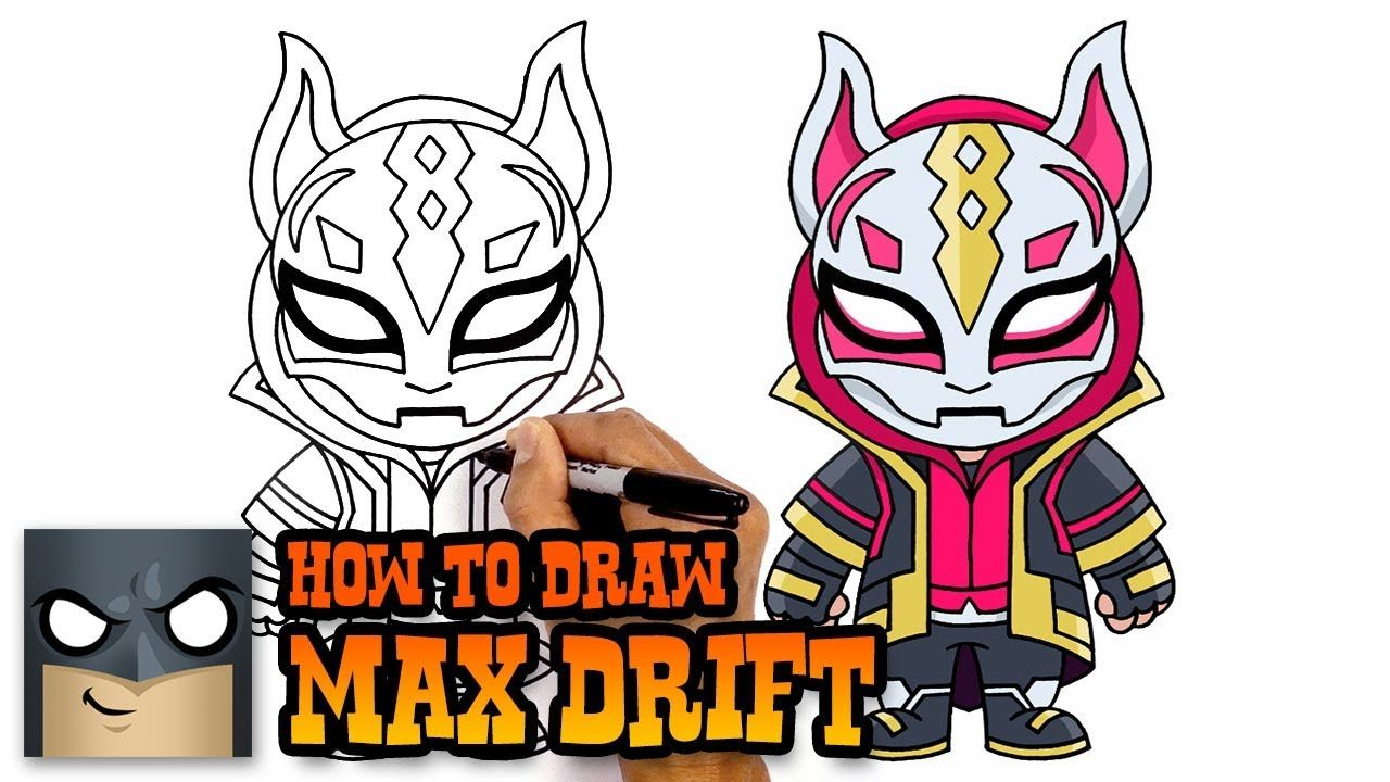How To Draw Max Drift Fortnite Step By Step Tutorial Youtube Easy Cartoon Drawings Cartooning 4 Kids Drawings