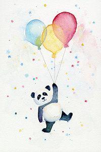 Painting - Panda Floating With Balloons by Olga Shvartsur #art #kidsart