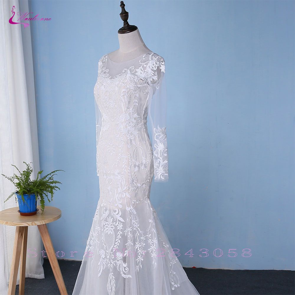 Chic Tulle Embroidery O-Neck 2 In 1 Detachable Train Wedding Dress ...