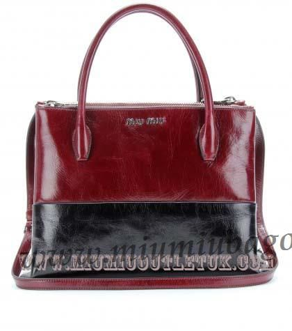 Cheap Miu Miu Two-Tone Leather Tote Outlet Sale in 2013/2014