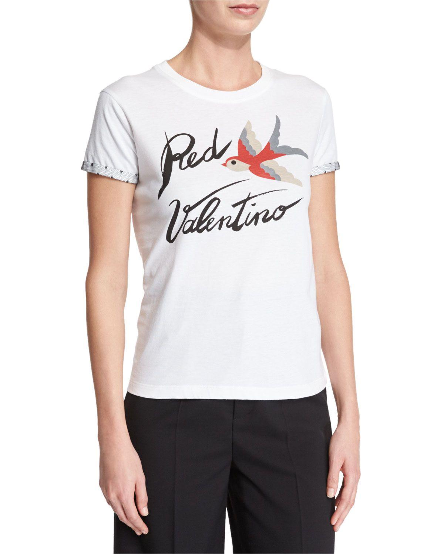 Red Valentino Short-Sleeve Redbird Logo Tee, Women's, Size: Medium, Black/White