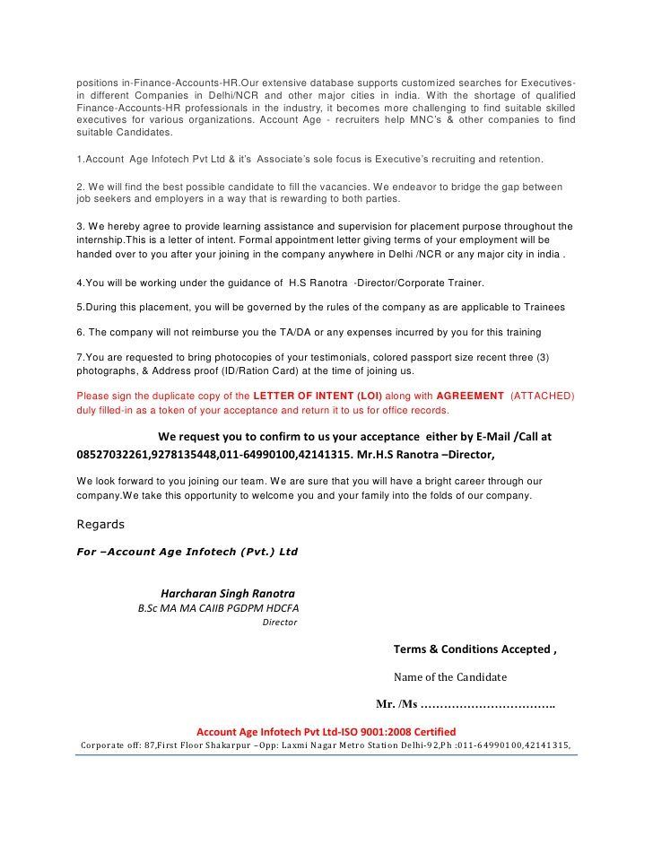 Letter Intent Loi Appointment Marketing Cover Example Download