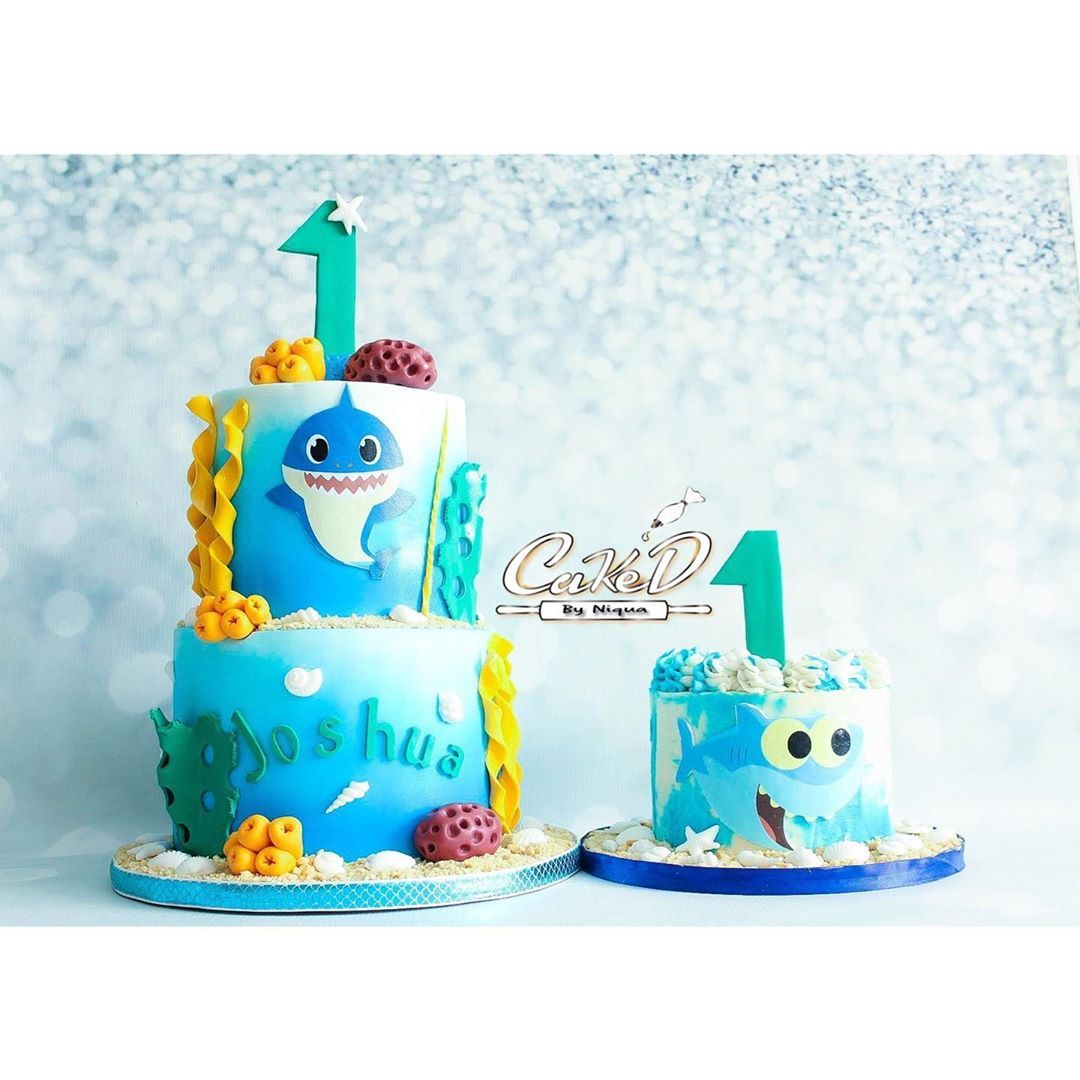 Baby Shark First Birthday Cake and Smash Cake First