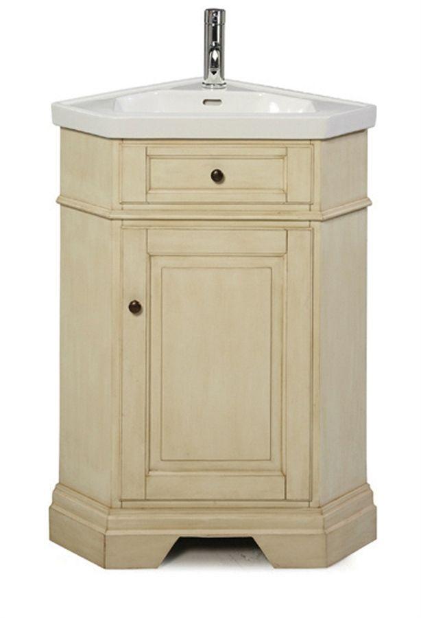 Corner bathroom vanities richmond corner vanity combo parchment includes vanity top bowl and for Bathroom sink and cabinet combo