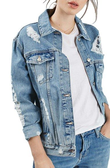 03913c04fdf1 Topshop Ripped Oversize Denim Jacket