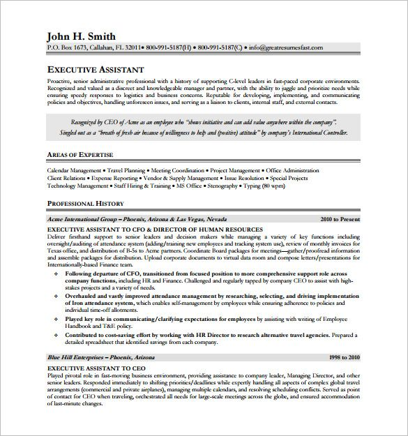 Executive Assistant Resume Free  Executive Resume Template And