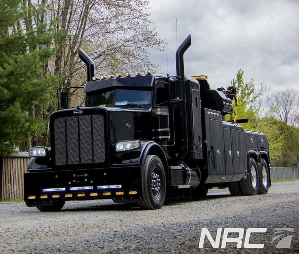 Black Us Tow Truck With Images Peterbilt Tow Truck Diesel Trucks