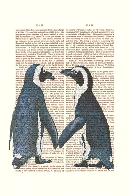 Marriage Proposal Penguins Love Watercolor Art Print Animal Art Wedding Gift