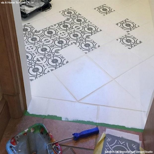 Stencil and Save Upcycling Old Bathroom Tiles with Stencils DIY
