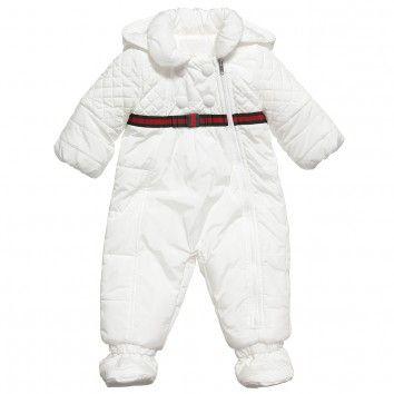 75a1eabeb Gucci Baby Girls Ivory Padded Snowsuit at Childrensalon.com ...