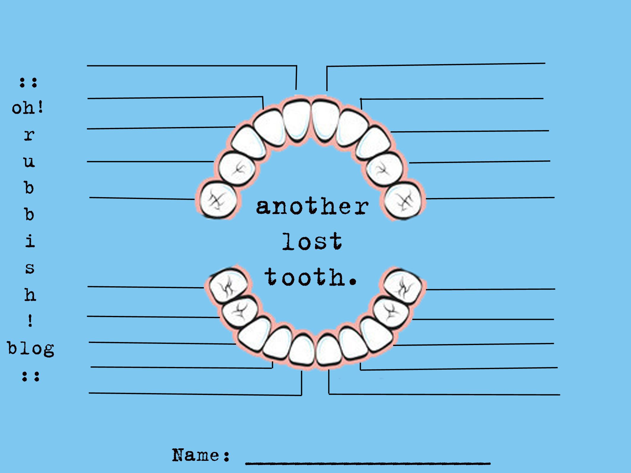 another lost tooth chart free printable oh rubbish blog diy scrapbook memories keepsakes traditions projects tooth fairy visit log  [ 2125 x 1593 Pixel ]