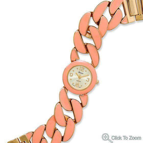 Gold Tone Curb Link Fashion Watch with Peach Epoxy        Price: $56.99