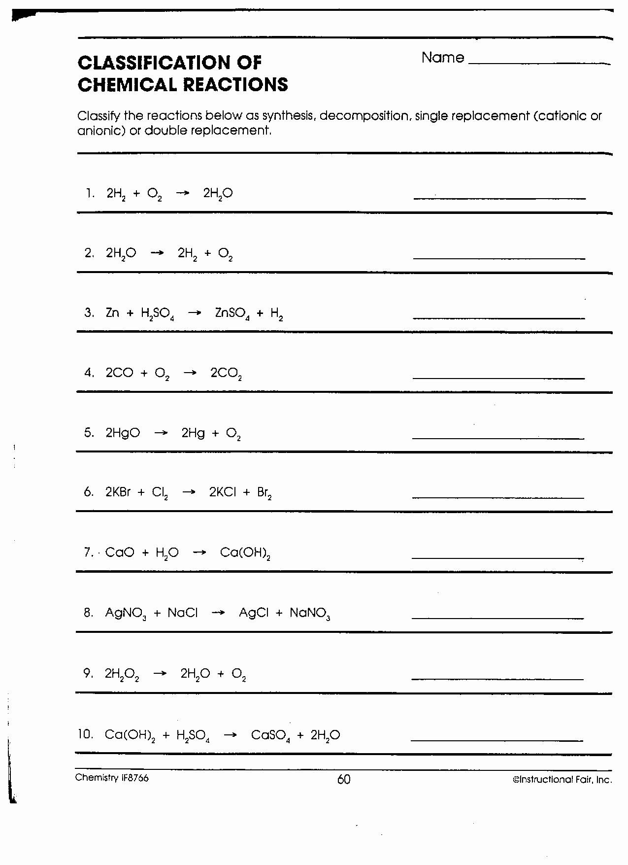 Chemical Reactions Types Worksheet Unique 16 Best Of Types