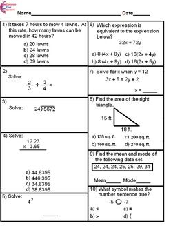 K 6 Common Core Math Assessment Bundle 7 Tests Each With 10