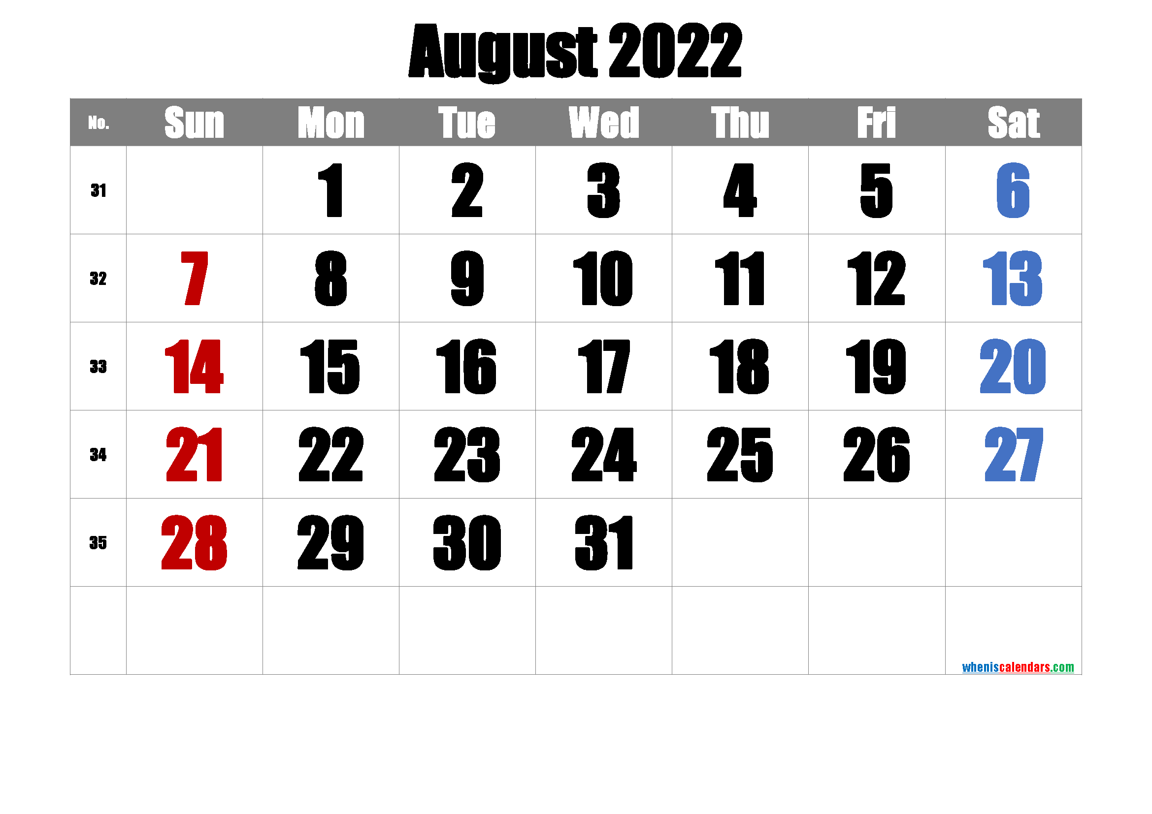 August 2022 Calendar Printable.Free Printable August 2022 Calendar Pdf And Png Calendar Printables March Free Printable Calendar Printable Calendar