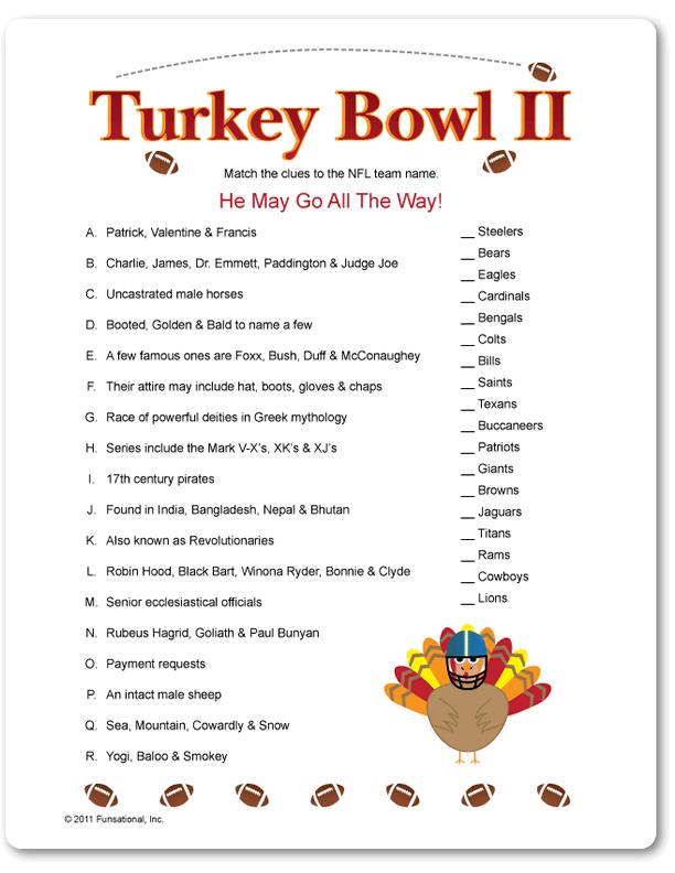 Printable Turkey Bowl II - Funsational.com   Thanksgiving facts, Turkey bowl, Thanksgiving games