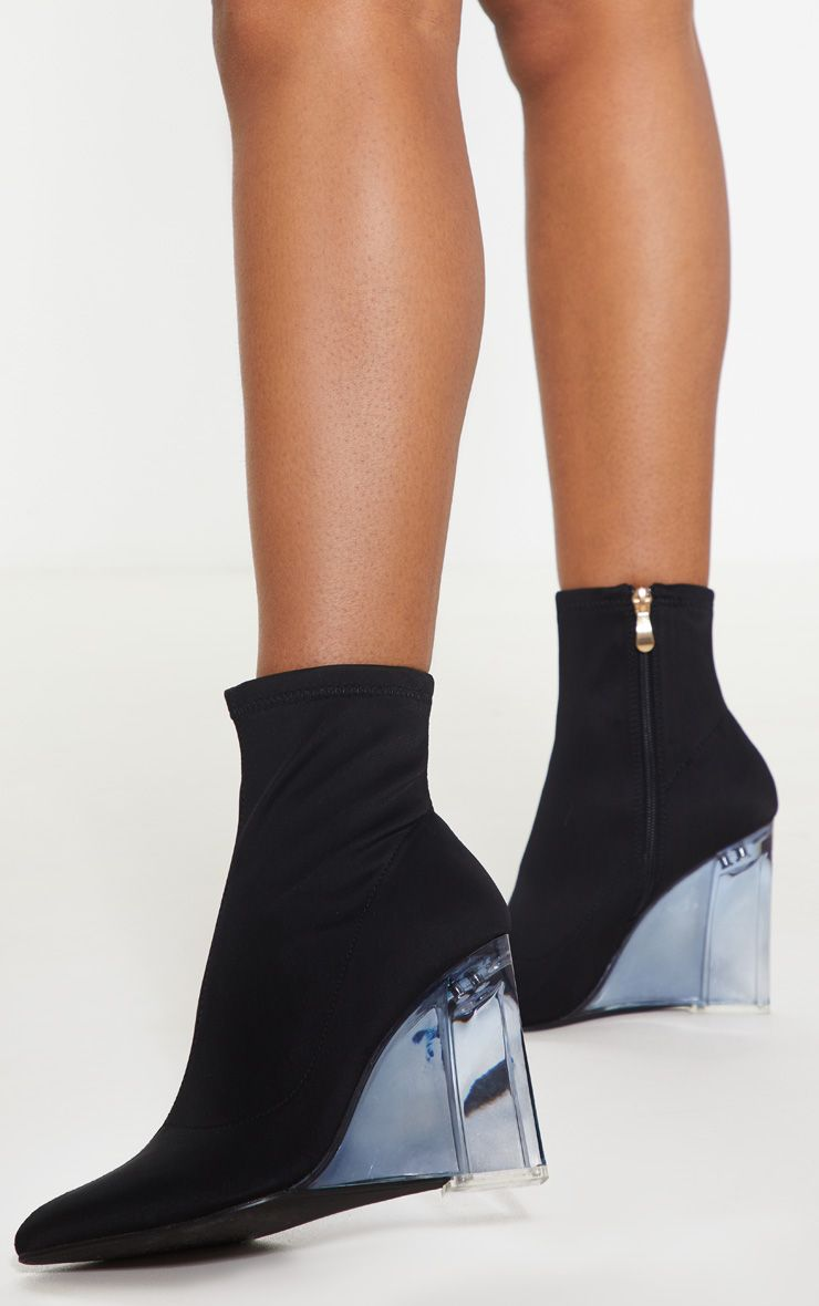 Black Clear Wedge Sock Boot | Boots