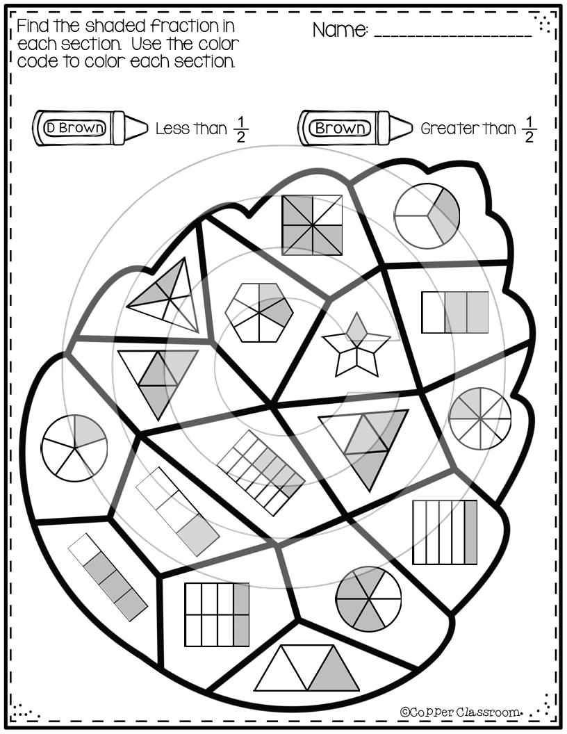 Fall Basic Equivalent Fraction Color By Code Fractions Math Fraction Games Math Graphic Organizers [ 1056 x 816 Pixel ]