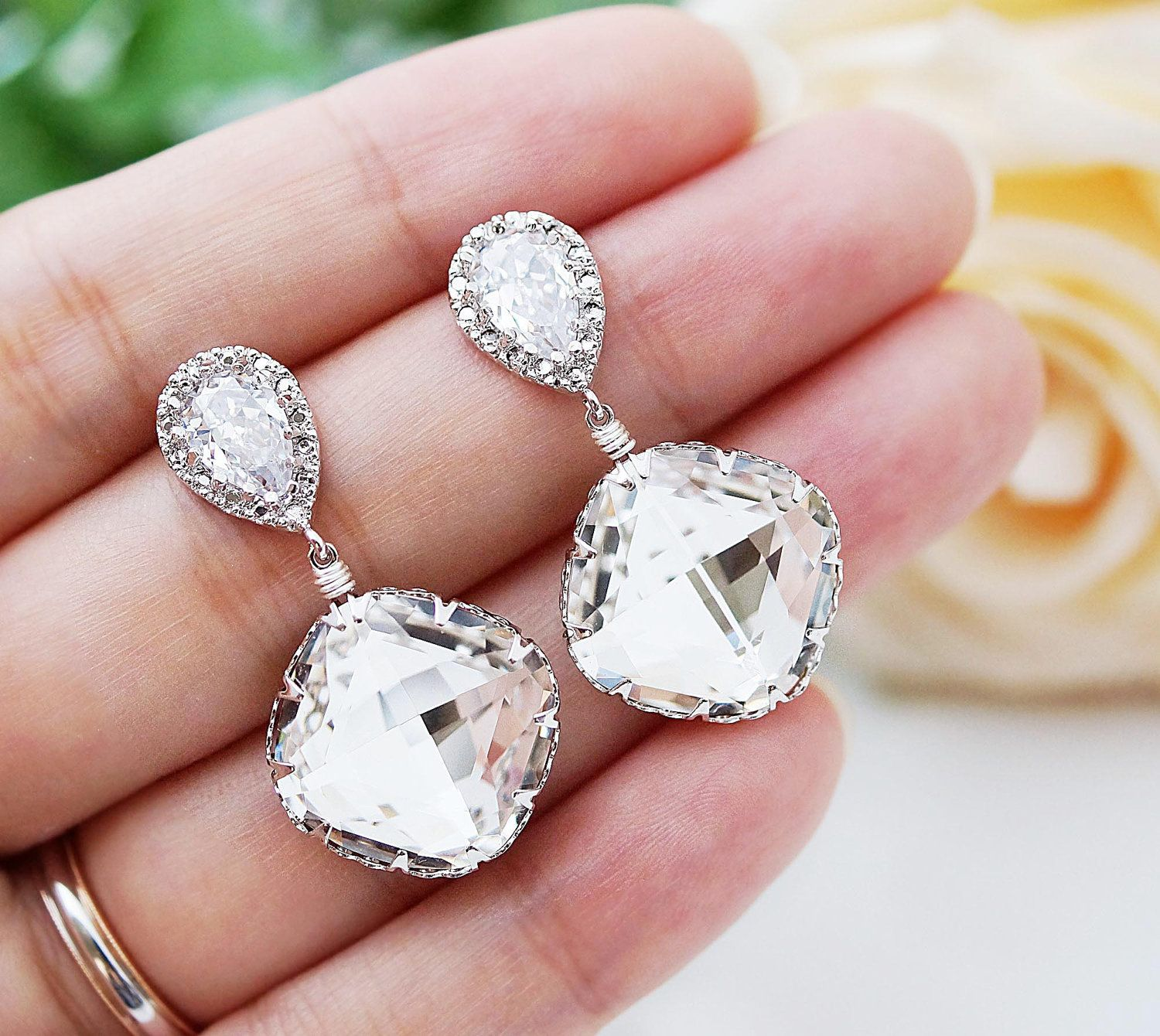 Cubic Zirconia Ear Posts with Clear White Swarovski Crystal Square ...