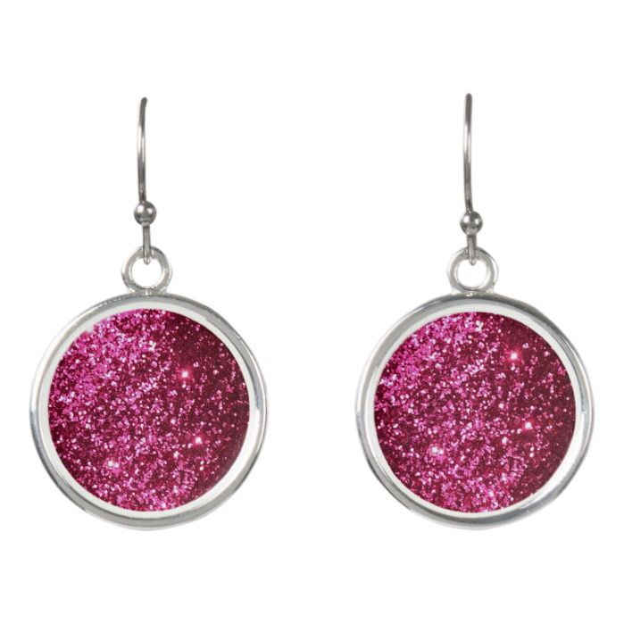 Pink Sparkle Drop Earrings